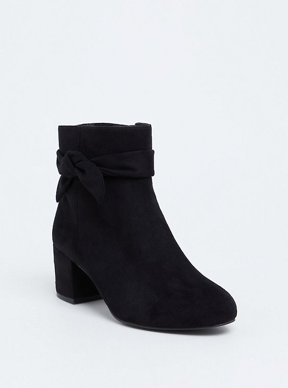 Plus Size Black Faux Suede Side Bow Bootie (WW), , hi-res