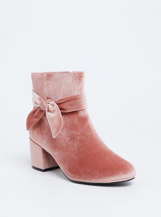 Blush Pink Velvet Bow Bootie (WW), , hi-res