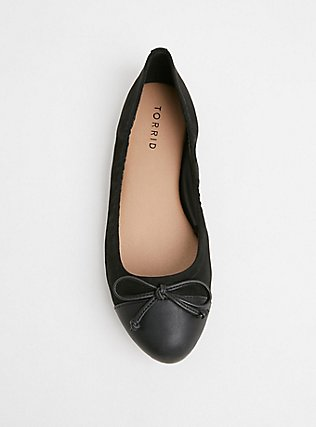 Black Faux Leather Scrunch Ballet Flat (WW), BLACK, alternate