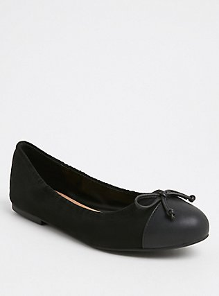 Black Faux Leather Scrunch Ballet Flat (WW), BLACK, hi-res