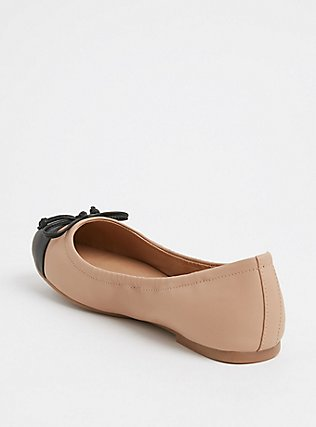 Tan & Black Faux Leather Scrunch Ballet Flat (Wide Width), TAN/BEIGE, alternate
