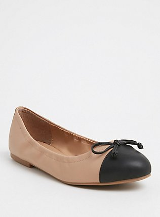 Tan & Black Faux Leather Scrunch Ballet Flat (Wide Width), TAN/BEIGE, hi-res