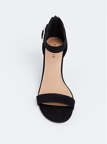 Black Faux Suede Cone Heel (WW), BLACK, alternate