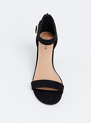 Black Faux Suede Cone Heel (WW), BLACK, alternate