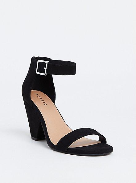 Black Faux Suede Cone Heel (WW), BLACK, hi-res