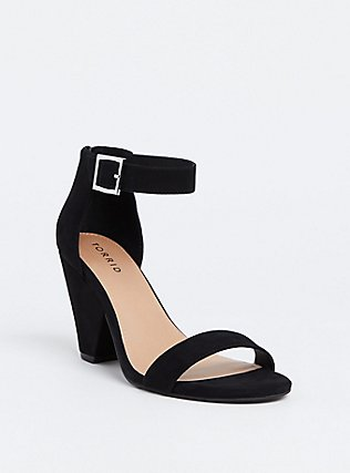 Black Faux Suede Cone Heel (WW), BLACK, hi-res