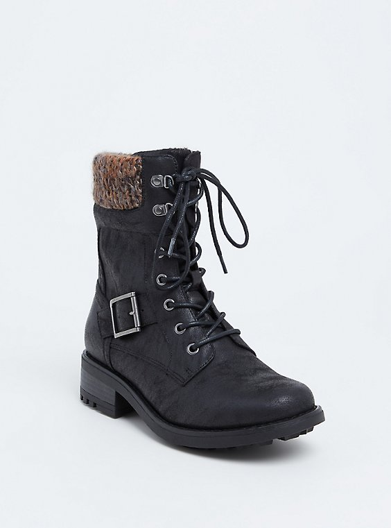 Black Faux Leather Sweater Trimmed Combat Boot (WW), , hi-res