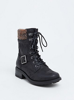 Black Faux Leather Sweater Trimmed Combat Boot (WW), BLACK, hi-res