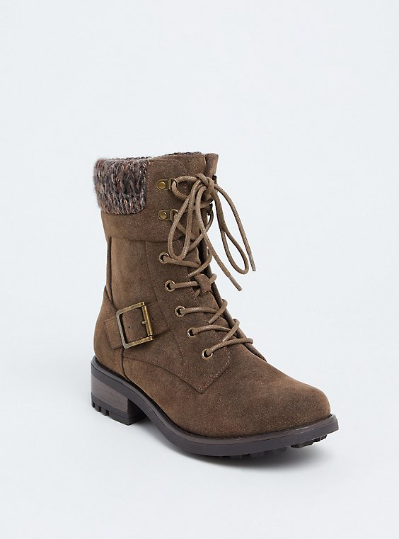 Brown Faux Leather Lace-Up Sweater Combat Boot (WW), , hi-res