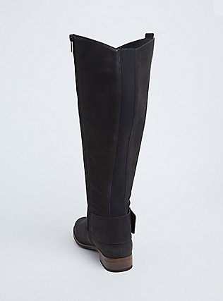 Black Brushed Faux Leather Western Knee-High Boots (WW), BLACK, alternate
