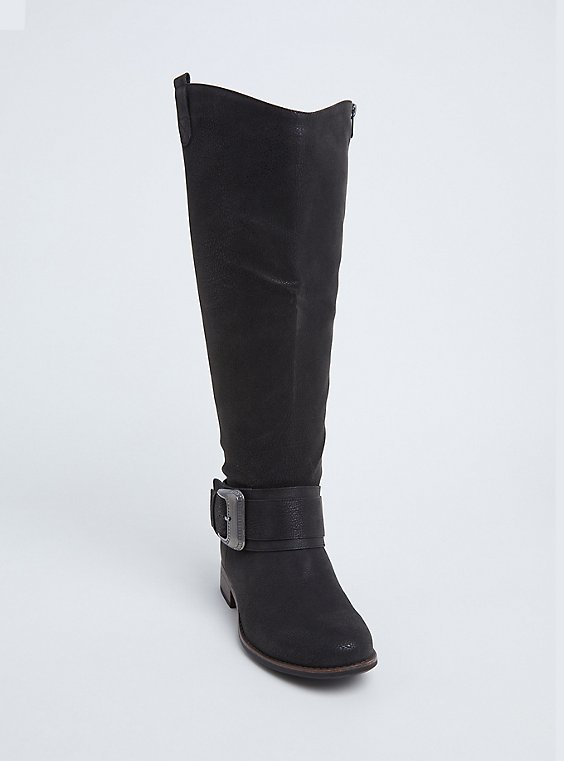 Plus Size Black Brushed Faux Leather Western Knee-High Boots (WW), , hi-res