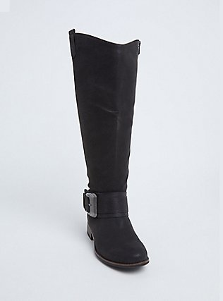 Black Brushed Faux Leather Western Knee-High Boots (WW), BLACK, hi-res
