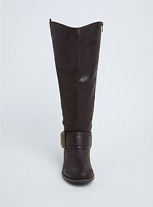 Brown Faux Leather Western Knee-High Boots (WW), BROWN, alternate