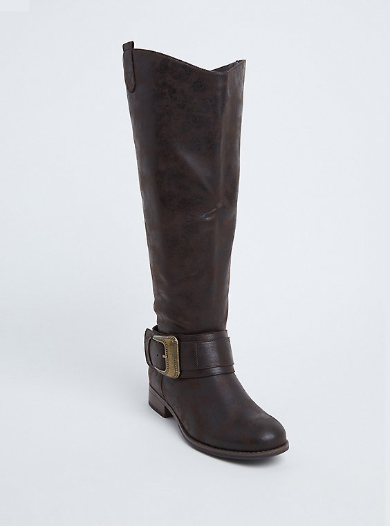 Plus Size Brown Faux Leather Western Knee-High Boots (WW), , hi-res