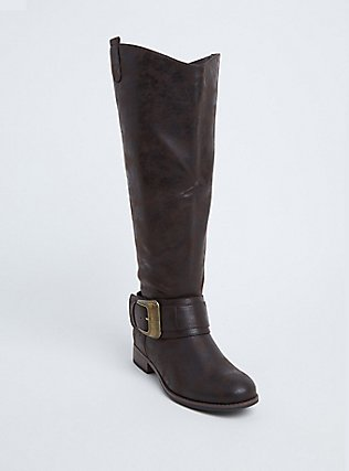 Brown Faux Leather Western Knee-High Boots (WW), BROWN, hi-res