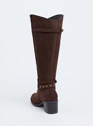 Brown Faux Suede Studded Strap Tall Boot  (WW), BROWN, alternate