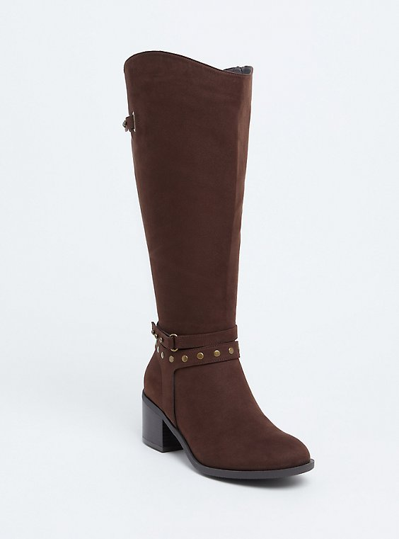 Brown Faux Suede Studded Strap Tall Boot  (WW), , hi-res
