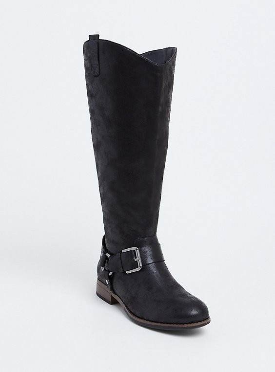 Black Oiled Faux Leather Harness Buckle Boot (WW) , , hi-res