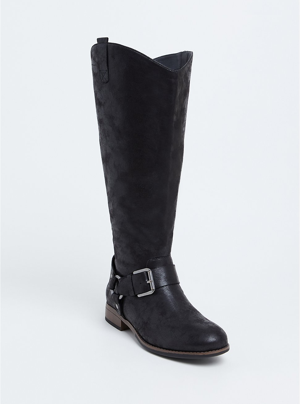 Black Oiled Faux Leather Harness Buckle Boot (WW) , BLACK, hi-res