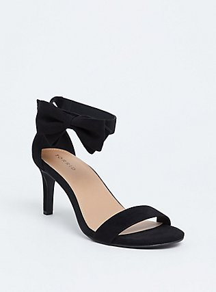 Black Faux Suede Ankle Bow Heel (WW), BLACK, hi-res