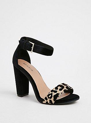 Black Velvet & Gold Glitter Leopard Tapered Heel (WW), BLACK, ls