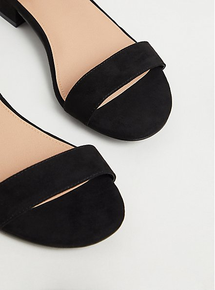Plus Size Black Faux Suede Ankle Strap Low Heel (WW), BLACK, alternate