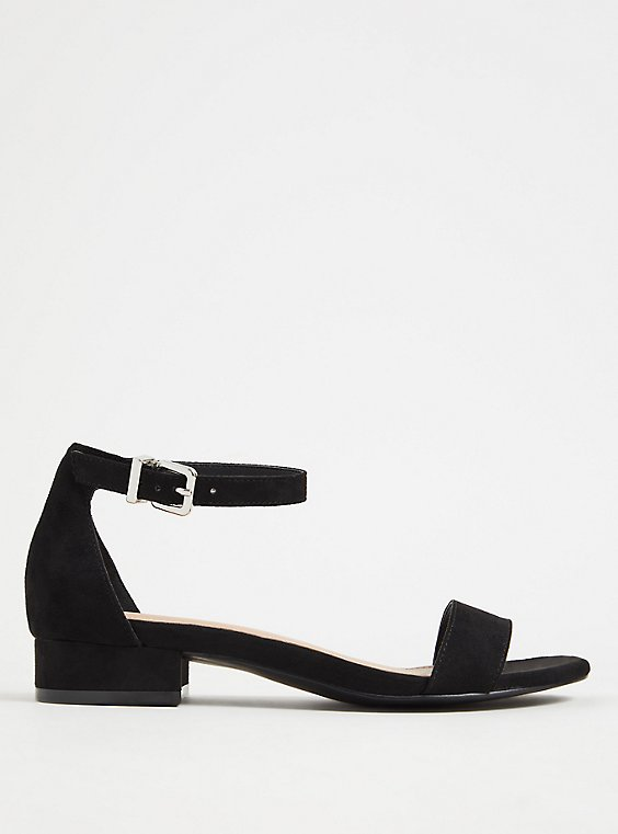 Black Faux Suede Ankle Strap Low Heel (WW), , hi-res