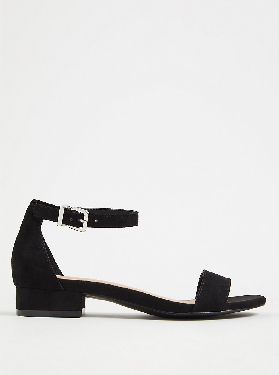 Black Faux Suede Ankle Strap Low Heel (WW), BLACK, hi-res