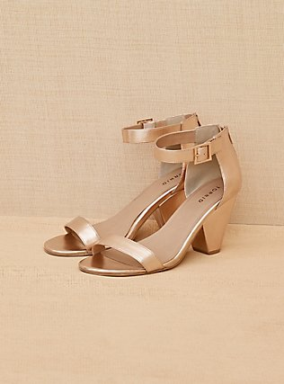 Rose Gold-Tone Faux Leather Cone Heel (WW) , ROSE GOLD, alternate