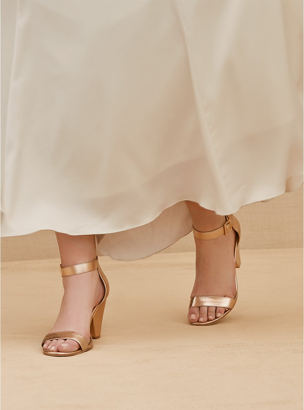 Plus Size Rose Gold-Tone Faux Leather Cone Heel (WW) , ROSE GOLD, hi-res