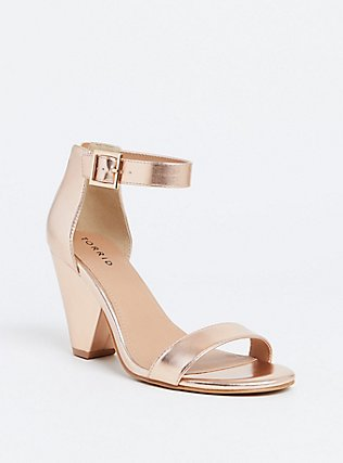 Rose Gold-Tone Faux Leather Cone Heel (WW) , ROSE GOLD, ls