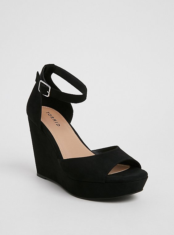 Black Faux Suede Platform Wedge (WW), , hi-res