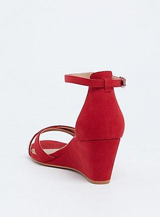 Plus Size Red Faux Suede Rhinestone Demi Wedge (WW), RED, alternate