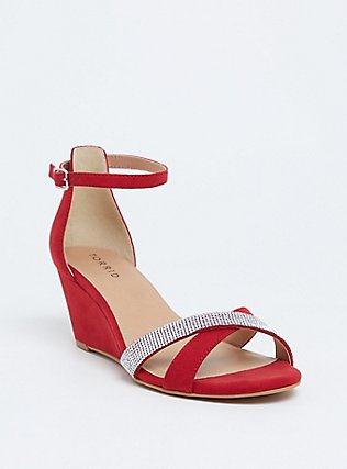 Plus Size Red Faux Suede Rhinestone Demi Wedge (WW), RED, hi-res