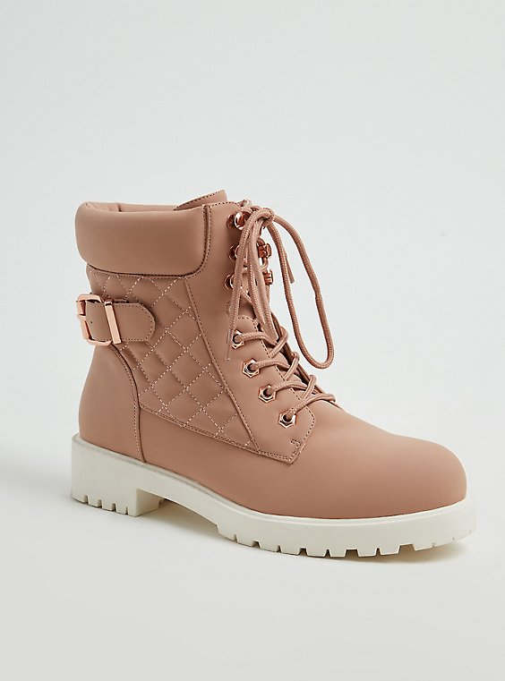 Blush Pink Faux Leather Quilted Hiker Boot (WW), , hi-res