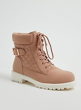 Plus Size Blush Pink Faux Leather Quilted Hiker Boot (WW), BLUSH, hi-res