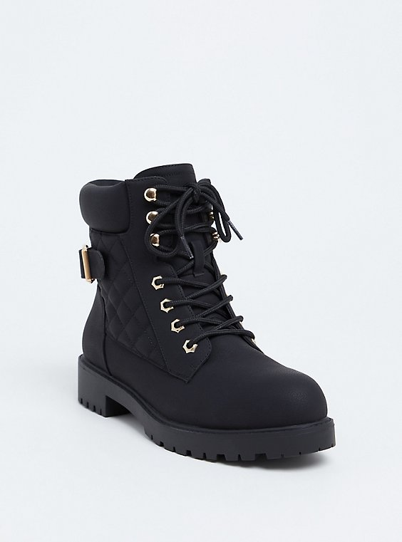 Black Faux Leather Quilted Hiker Boot (WW), , hi-res