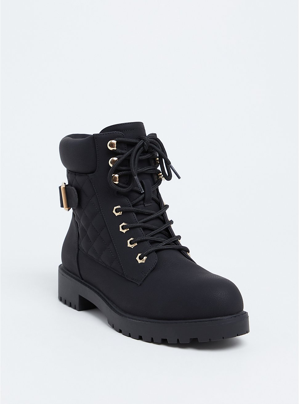 Black Faux Leather Quilted Hiker Boot (WW), BLACK, hi-res