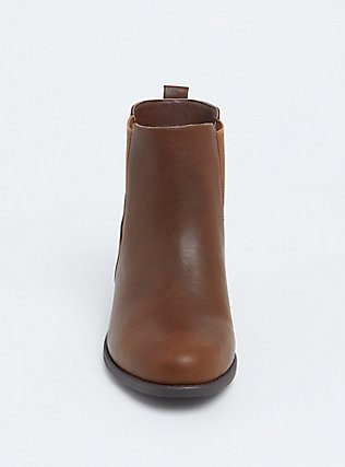 Brown Faux Leather Chelsea Bootie (WW), BROWN, alternate