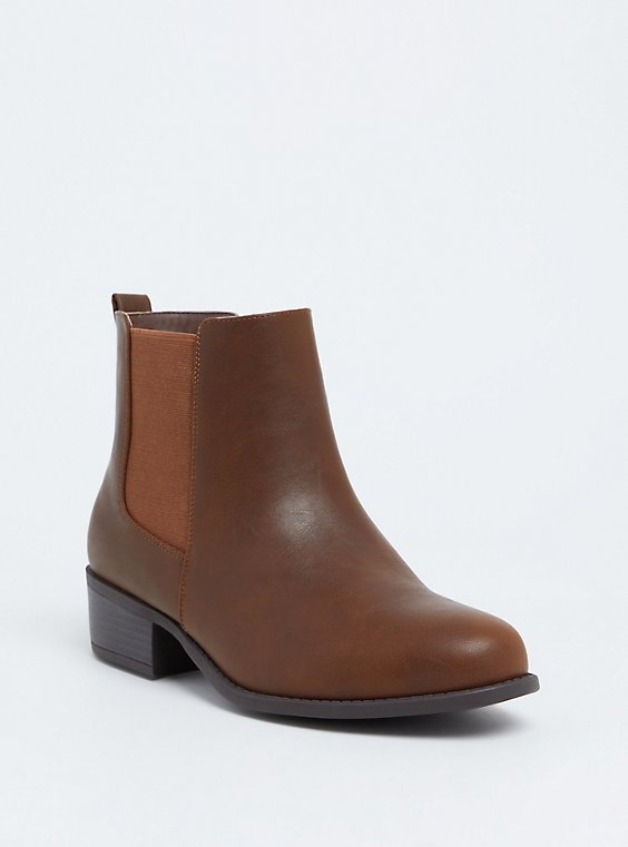Brown Faux Leather Chelsea Bootie (WW), , hi-res