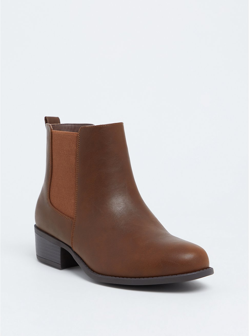 Brown Faux Leather Chelsea Bootie (WW), BROWN, hi-res