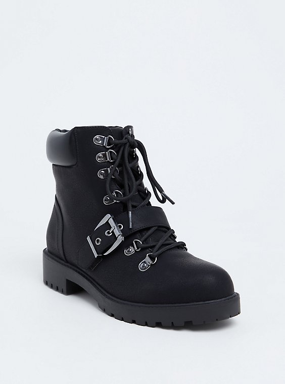 Black Faux Leather Hiker Boot (WW), , hi-res