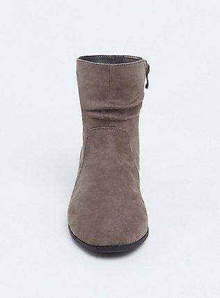 Grey Faux Suede Scrunch Bootie (WW), GREY, alternate