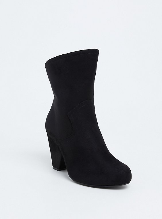 Plus Size Black Faux Suede Cone Heel Bootie (WW), , hi-res
