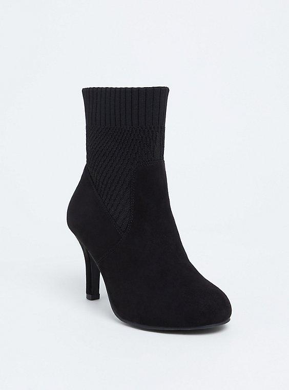 Black Faux Suede Textured Sock Bootie (WW), , hi-res