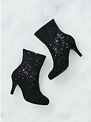 Black Faux Suede Textured Sock Bootie (WW), BLACK, hi-res