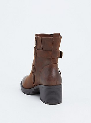 Brown Faux Leather Lug Sole Moto Bootie (WW), BROWN, alternate