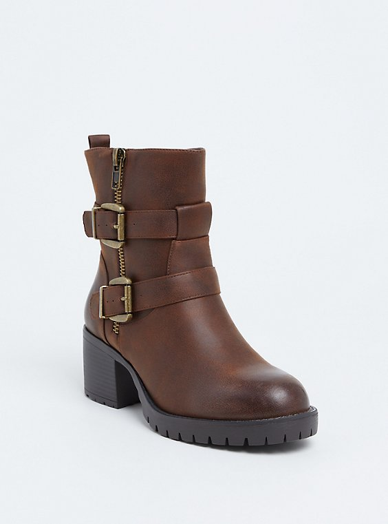 Brown Faux Leather Lug Sole Moto Bootie (WW), , hi-res
