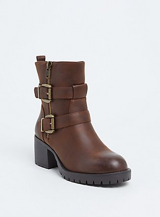 Brown Faux Leather Lug Sole Moto Bootie (WW), BROWN, hi-res