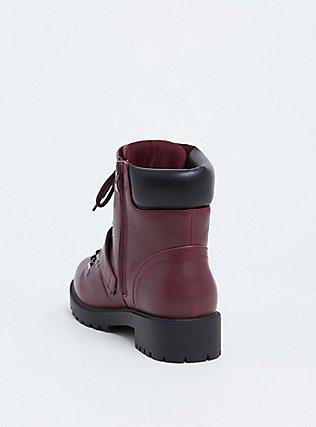 Burgundy Purple Faux Leather Hiker Boot (WW), BURGUNDY, alternate